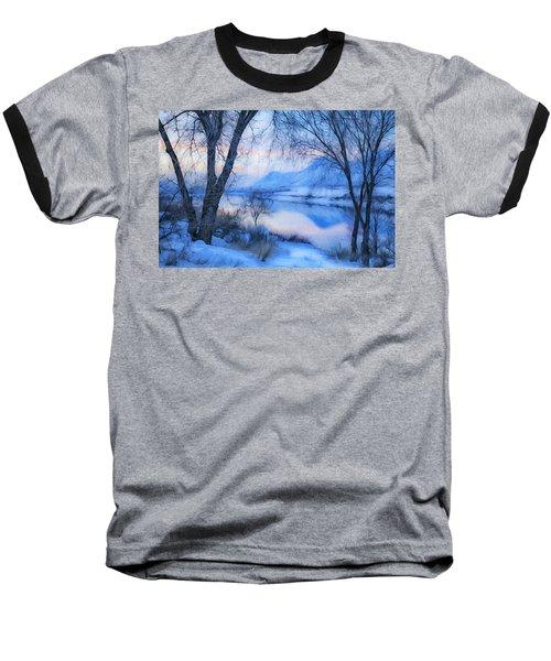 Blue Landscape Baseball T-Shirt by Theresa Tahara