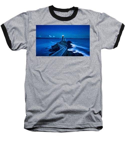 Blue Lighthouse Baseball T-Shirt