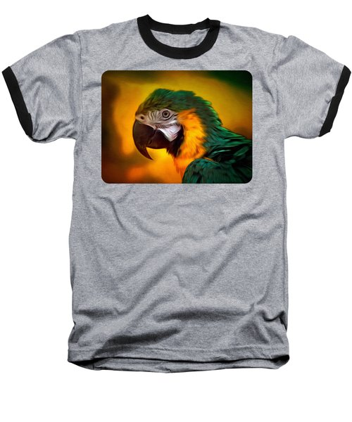 Blue Macaw Parrot Portrait Baseball T-Shirt by Linda Koelbel
