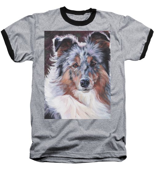 Baseball T-Shirt featuring the painting Blue Merle Sheltie by Lee Ann Shepard