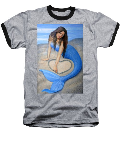 Baseball T-Shirt featuring the painting Blue Mermaid's Heart by Sue Halstenberg