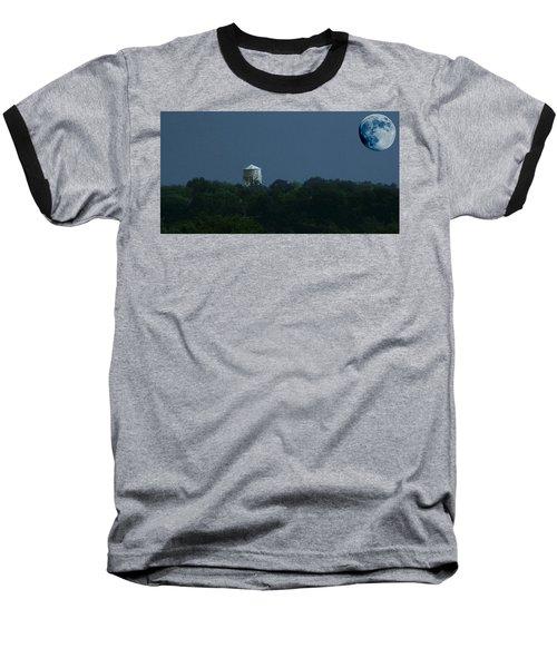 Blue Moon Over Zanesville Water Tower Baseball T-Shirt