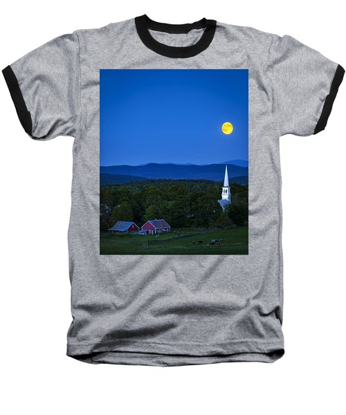 Blue Moon Rising Over Church Steeple Baseball T-Shirt