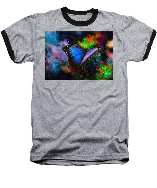 Blue Morpho Butterfly Baseball T-Shirt