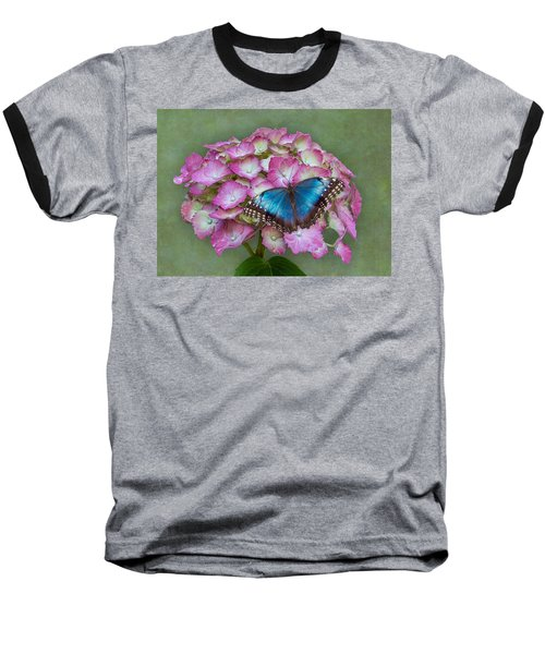 Blue Morpho Butterfly On Pink Hydrangea Baseball T-Shirt
