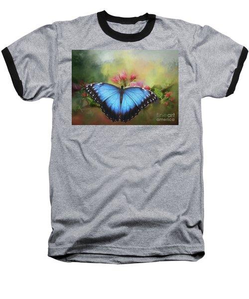 Blue Morpho On A Blossom Baseball T-Shirt by Eva Lechner
