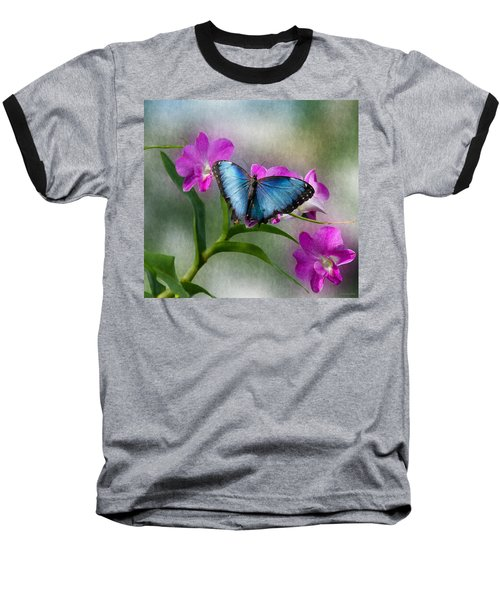 Blue Morpho With Orchids Baseball T-Shirt