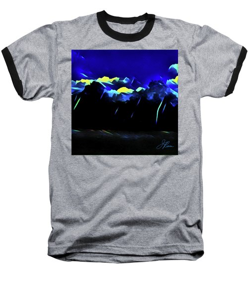 Baseball T-Shirt featuring the painting Blue Mountains by Joan Reese