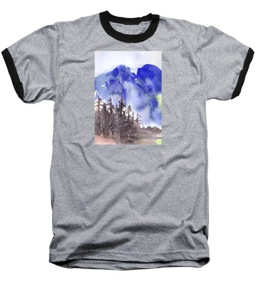 Baseball T-Shirt featuring the painting Blue Mountains by Yolanda Koh