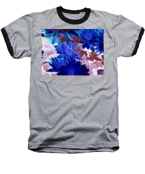 Blue Mums With Purple Ivy Baseball T-Shirt