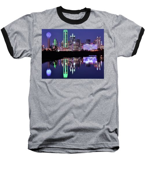 Baseball T-Shirt featuring the photograph Blue Night And Reflections In Dallas by Frozen in Time Fine Art Photography