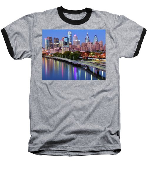 Baseball T-Shirt featuring the photograph Blue Night Lights In Philly by Frozen in Time Fine Art Photography