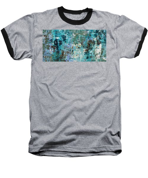 Baseball T-Shirt featuring the painting Blue Ocean - Abstract Art by Carmen Guedez