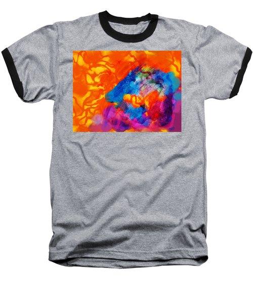 Blue On Orange Baseball T-Shirt