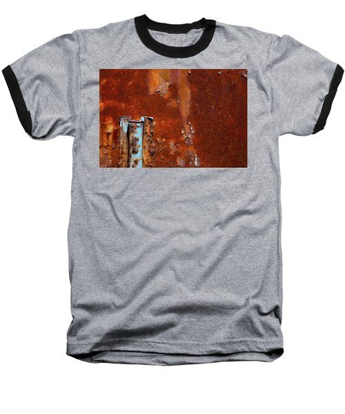 Baseball T-Shirt featuring the photograph Blue On Rust by Karol Livote
