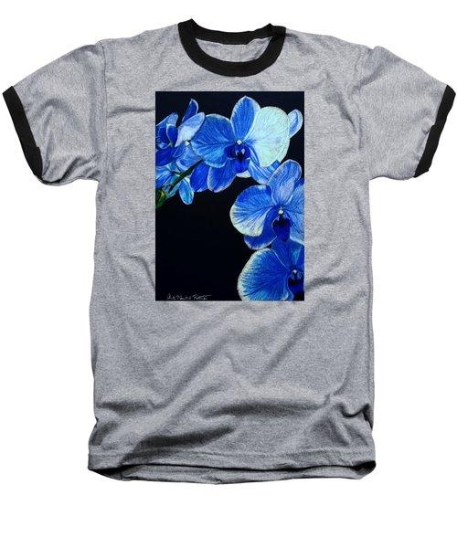 Blue Orchid - Electric-blue Phalaenopsis Baseball T-Shirt by Anita Putman