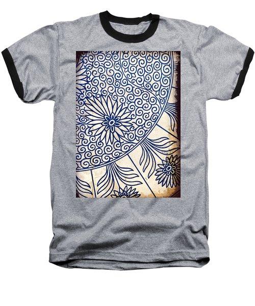Blue Oriental Vintage Tile 01 Baseball T-Shirt