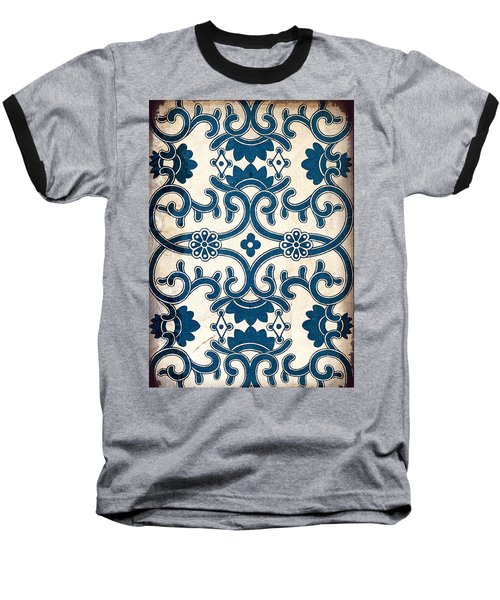 Blue Oriental Vintage Tile 02 Baseball T-Shirt