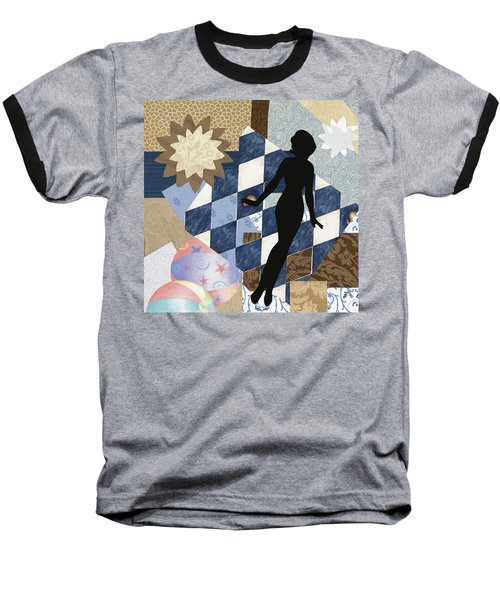 Blue Paper Doll Baseball T-Shirt