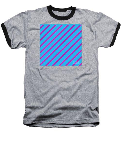 Blue Pink Angled Stripes Abstract Baseball T-Shirt