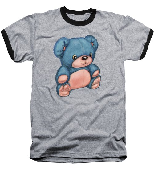 Blue Pink Bear Baseball T-Shirt by Andy Catling