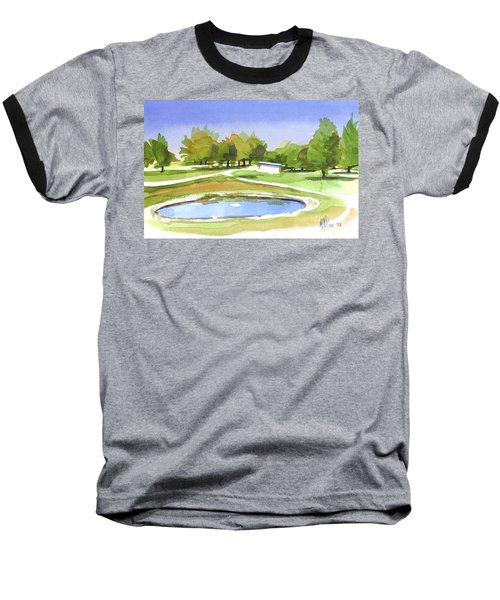 Baseball T-Shirt featuring the painting Blue Pond At The A V Country Club by Kip DeVore