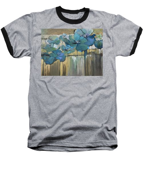 Baseball T-Shirt featuring the painting Blue Poppies by Eleatta Diver