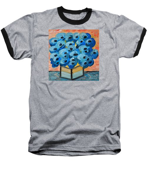 Blue Poppies In Square Vase  Baseball T-Shirt by Ramona Matei