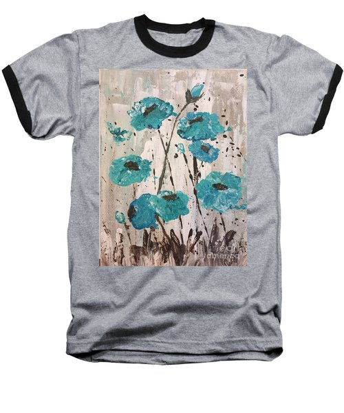 Baseball T-Shirt featuring the painting Blue Poppies by Lucia Grilletto