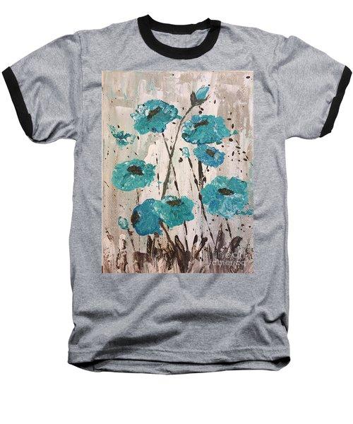 Blue Poppies Baseball T-Shirt