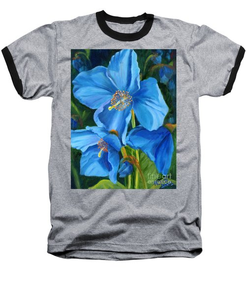 Blue Poppy Baseball T-Shirt
