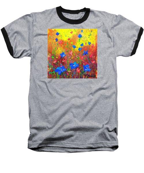 Blue Posies Baseball T-Shirt by Tracy Bonin