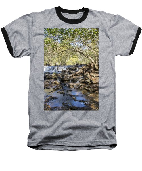 Blue Puddle Falls Baseball T-Shirt by Ricky Dean