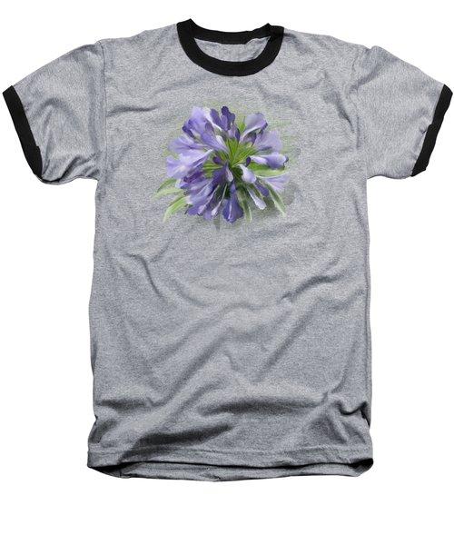 Blue Purple Flowers Baseball T-Shirt