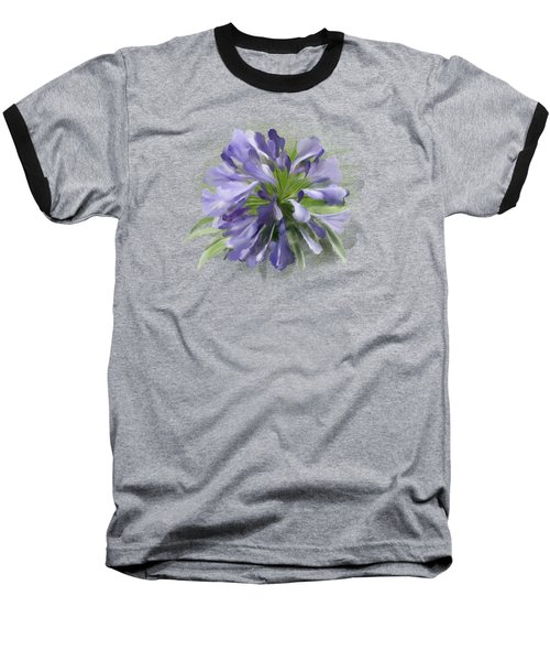 Blue Purple Flowers Baseball T-Shirt