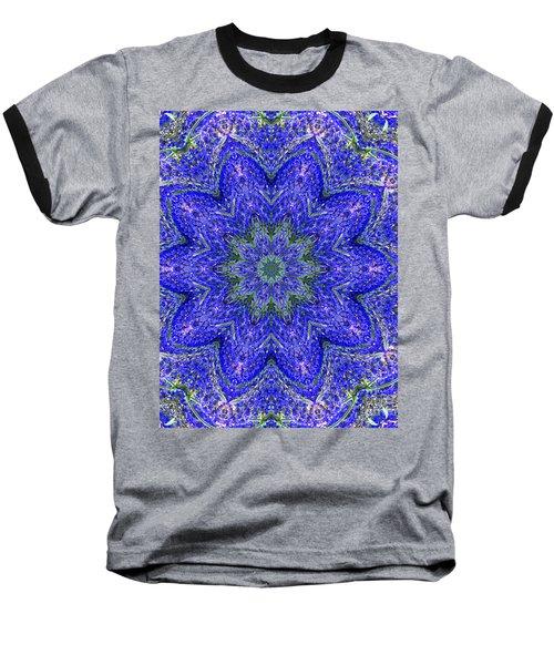 Blue Purple Lavender Floral Kaleidoscope Wall Art Print Baseball T-Shirt by Carol F Austin