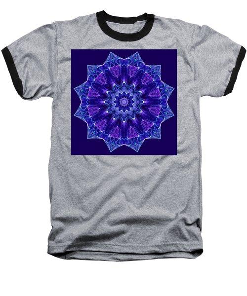 Blue And Purple Mandala Fractal Baseball T-Shirt