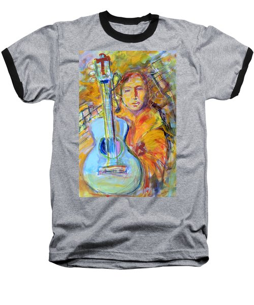 Baseball T-Shirt featuring the painting Blue Quitar by Mary Schiros