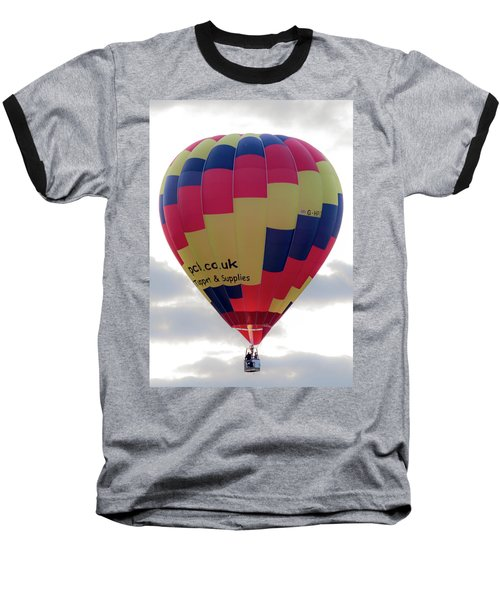 Blue, Red And Yellow Hot Air Balloon Baseball T-Shirt
