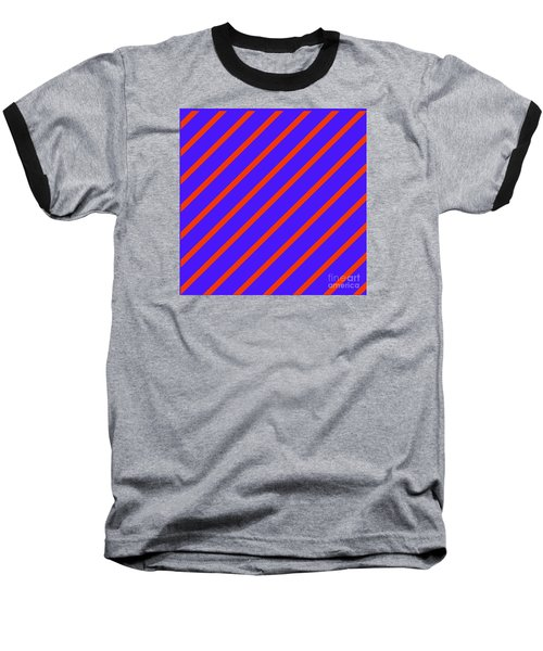 Blue Red Angled Stripes Abstract Baseball T-Shirt