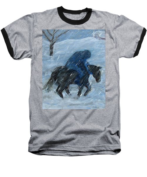 Blue Rider On Horse Baseball T-Shirt