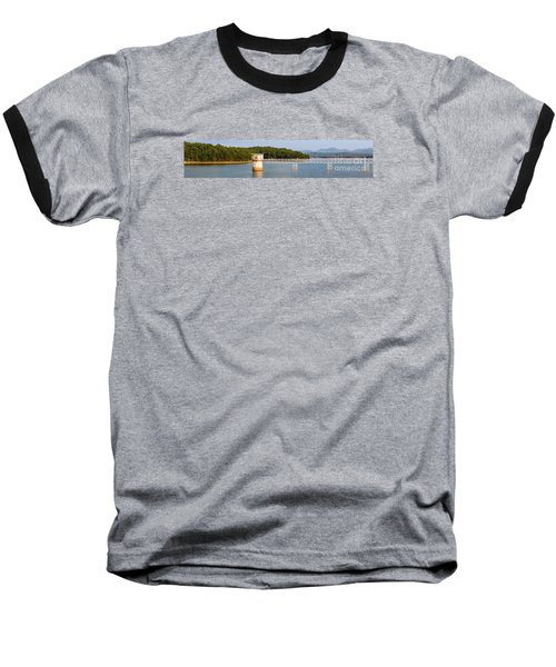 Blue Ridge Dam - Panoramic Baseball T-Shirt by Michael Waters