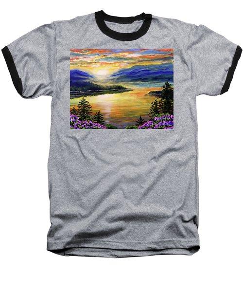 Blue Ridge Lake View Sunset Baseball T-Shirt