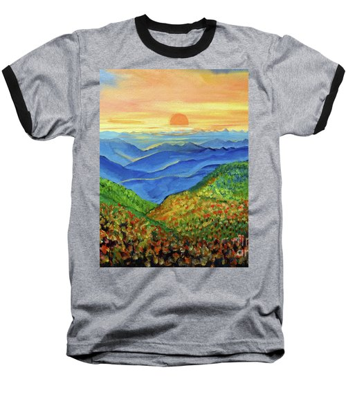Baseball T-Shirt featuring the painting Blue Ridge Mountain Morn by Ecinja Art Works
