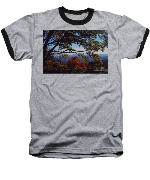 Blue Ridge Mountain View Baseball T-Shirt by Debra Crank
