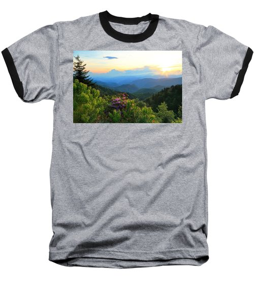 Blue Ridge Parkway And Rhododendron  Baseball T-Shirt