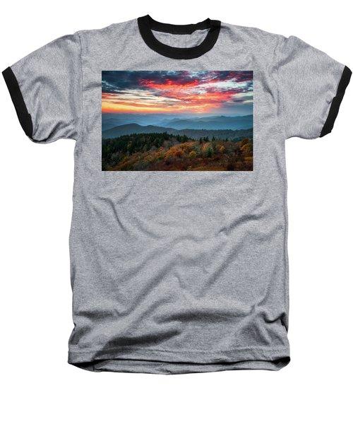 Blue Ridge Parkway Autumn Sunset Scenic Landscape Asheville Nc Baseball T-Shirt