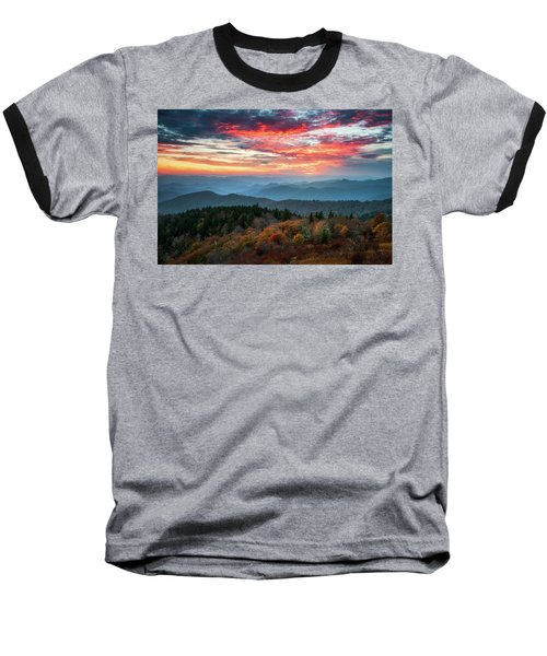 Blue Ridge Parkway Autumn Sunset Scenic Landscape Asheville Nc Baseball T-Shirt