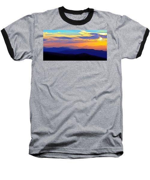 Blue Ridge Sunset, Virginia Baseball T-Shirt by The American Shutterbug Society