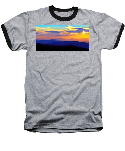 Blue Ridge Sunset, Virginia Baseball T-Shirt